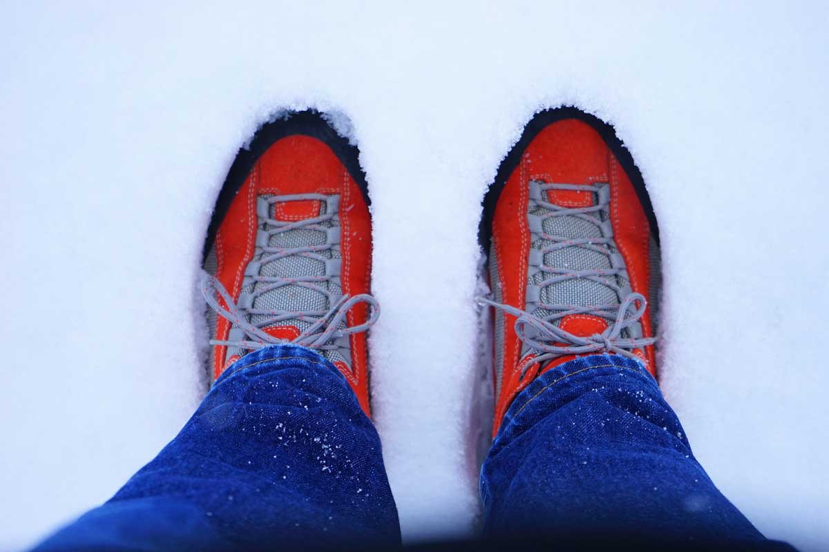 red shoes in snow