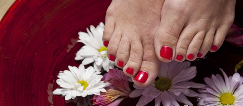 feet with nail polish